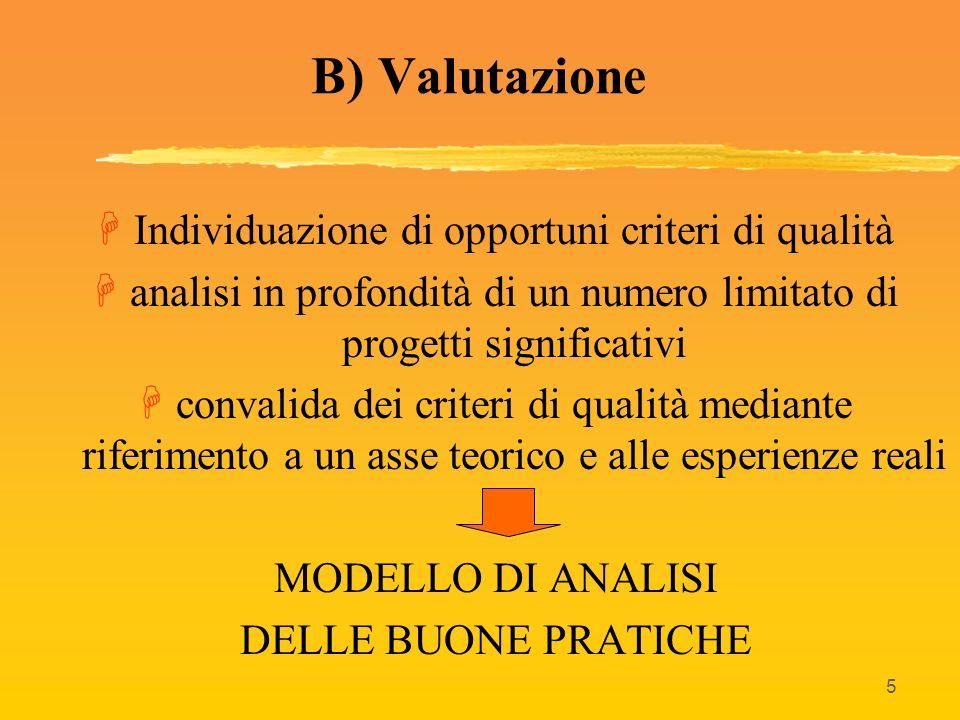 5 B) Valutazione HIndividuazione di opportuni criteri di qualità Hanalisi in profondità di un numero limitato di progetti significativi Hconvalida dei
