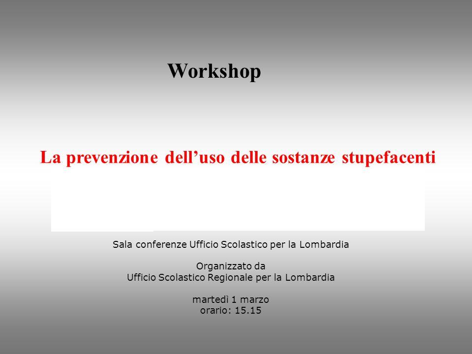 Workshop La prevenzione delluso delle sostanze stupefacenti Sala conferenze Ufficio Scolastico per la Lombardia Organizzato da Ufficio Scolastico Regi