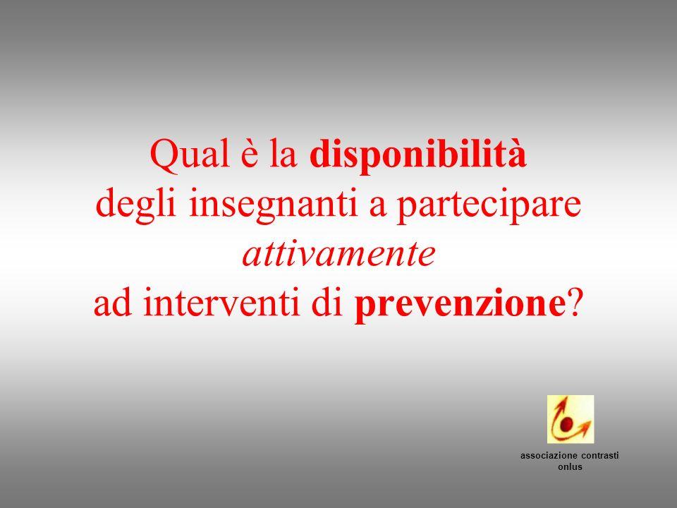 Qual è la disponibilità degli insegnanti a partecipare attivamente ad interventi di prevenzione? associazione contrasti onlus