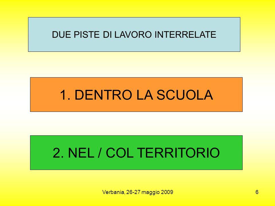 Verbania, 26-27 maggio 20096 1.DENTRO LA SCUOLA DUE PISTE DI LAVORO INTERRELATE 2.
