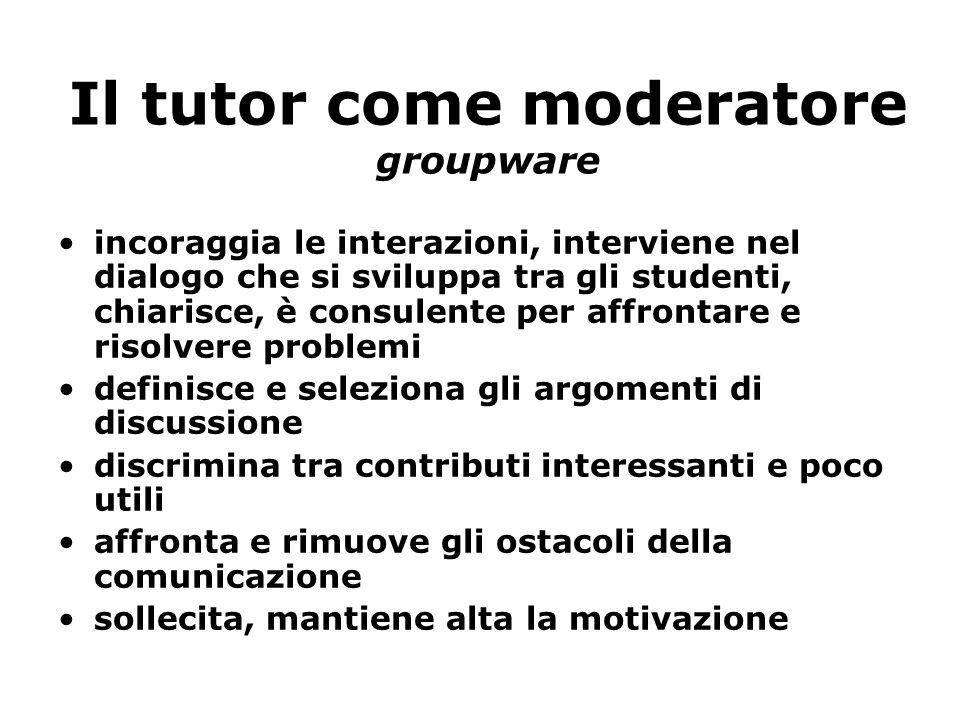 Il tutor come moderatore groupware incoraggia le interazioni, interviene nel dialogo che si sviluppa tra gli studenti, chiarisce, è consulente per aff