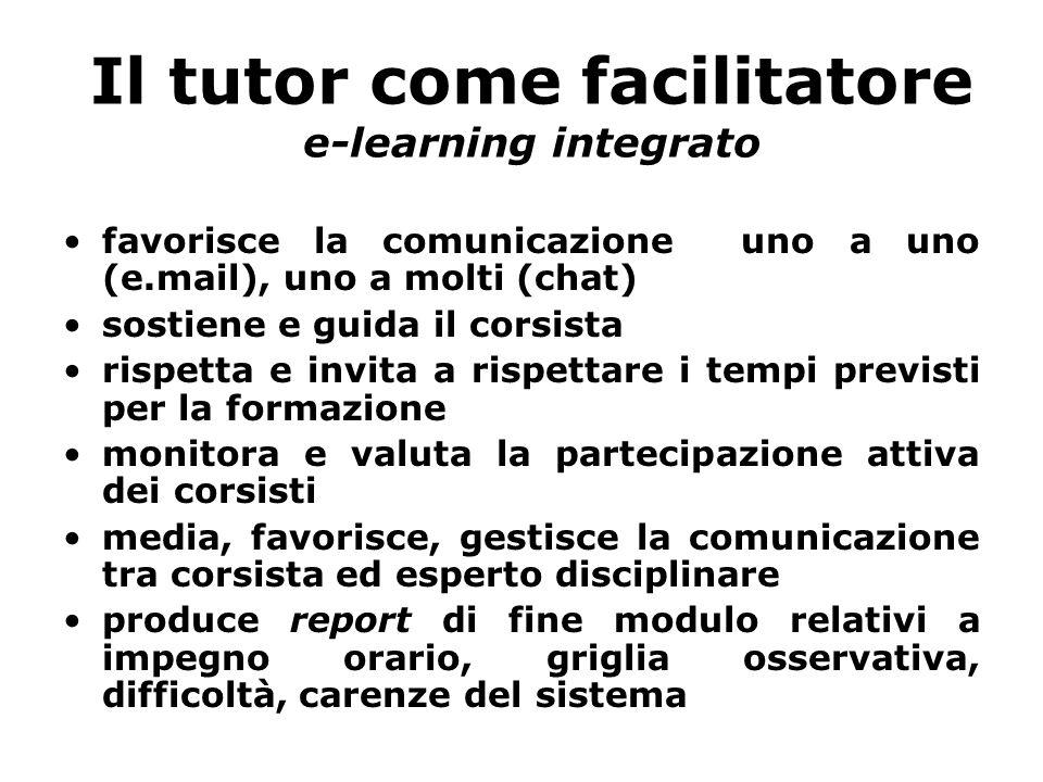 Il tutor come facilitatore e-learning integrato favorisce la comunicazione uno a uno (e.mail), uno a molti (chat) sostiene e guida il corsista rispett