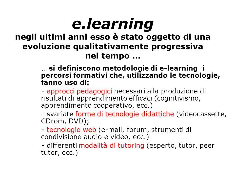 e.learning negli ultimi anni esso è stato oggetto di una evoluzione qualitativamente progressiva nel tempo … … si definiscono metodologie di e-learnin