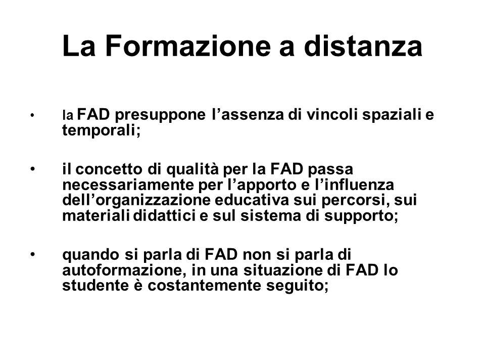 La Formazione a distanza la FAD presuppone lassenza di vincoli spaziali e temporali; il concetto di qualità per la FAD passa necessariamente per lappo