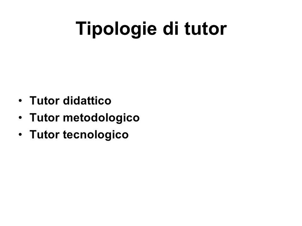 Tipologie di tutor Tutor didattico Tutor metodologico Tutor tecnologico