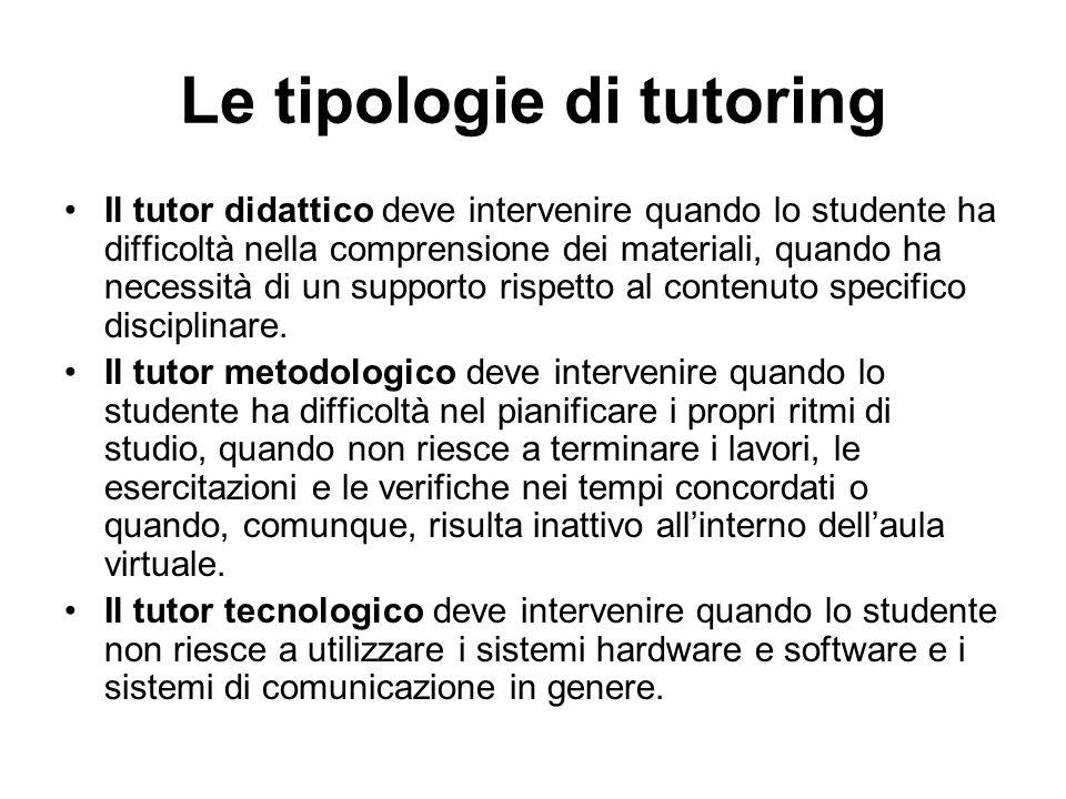 Le tipologie di tutoring Il tutor didattico deve intervenire quando lo studente ha difficoltà nella comprensione dei materiali, quando ha necessità di