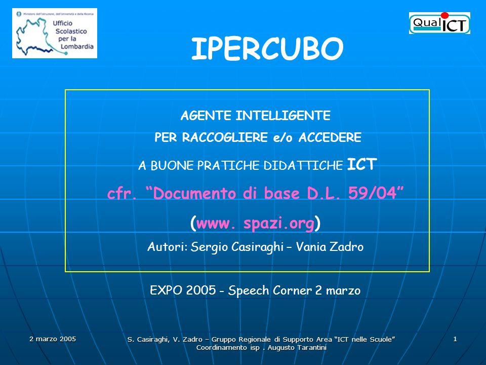 2 marzo 2005 S. Casiraghi, V. Zadro – Gruppo Regionale di Supporto Area ICT nelle Scuole Coordinamento isp. Augusto Tarantini 1 AGENTE INTELLIGENTE PE