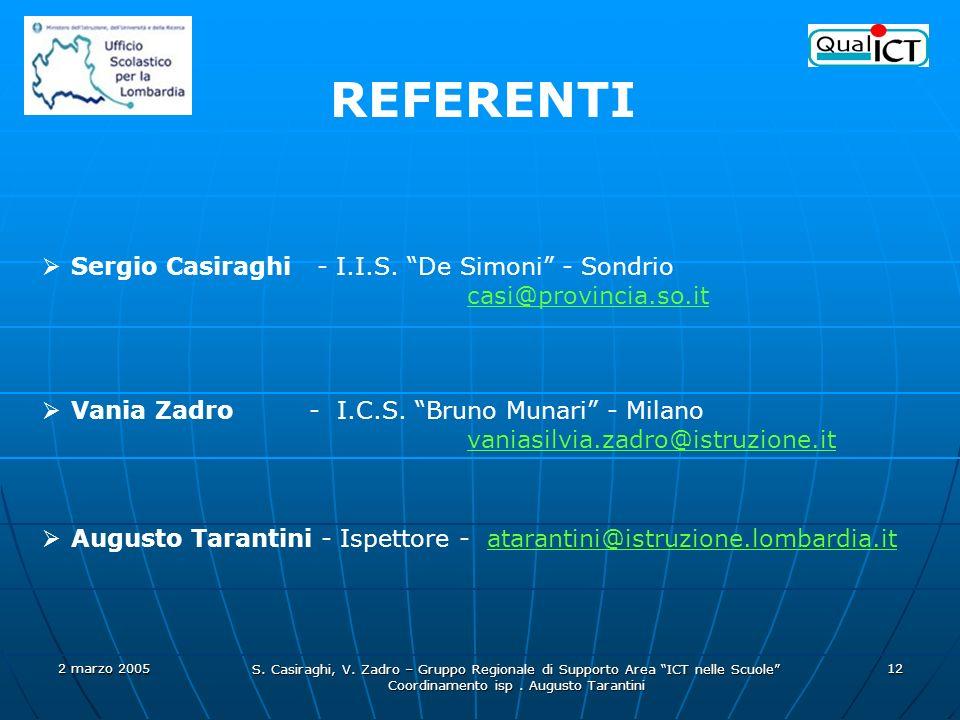 2 marzo 2005 S. Casiraghi, V. Zadro – Gruppo Regionale di Supporto Area ICT nelle Scuole Coordinamento isp. Augusto Tarantini 12 Sergio Casiraghi - I.