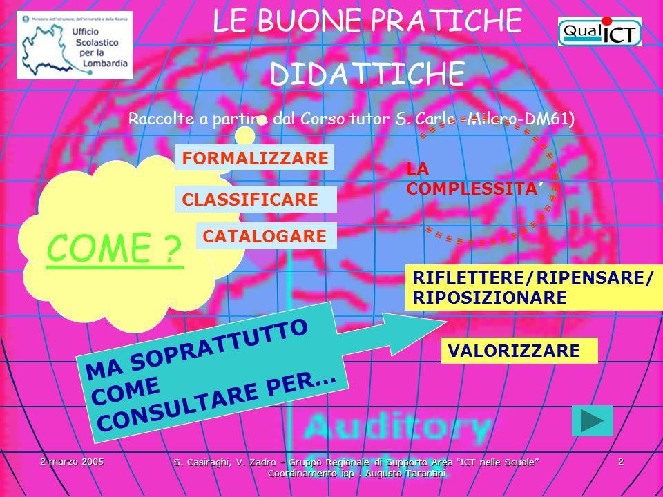 2 marzo 2005 S. Casiraghi, V. Zadro – Gruppo Regionale di Supporto Area ICT nelle Scuole Coordinamento isp. Augusto Tarantini 2 LE BUONE PRATICHE DIDA