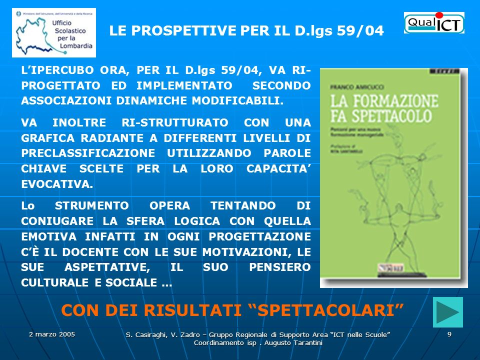 2 marzo 2005 S. Casiraghi, V. Zadro – Gruppo Regionale di Supporto Area ICT nelle Scuole Coordinamento isp. Augusto Tarantini 9 LIPERCUBO ORA, PER IL