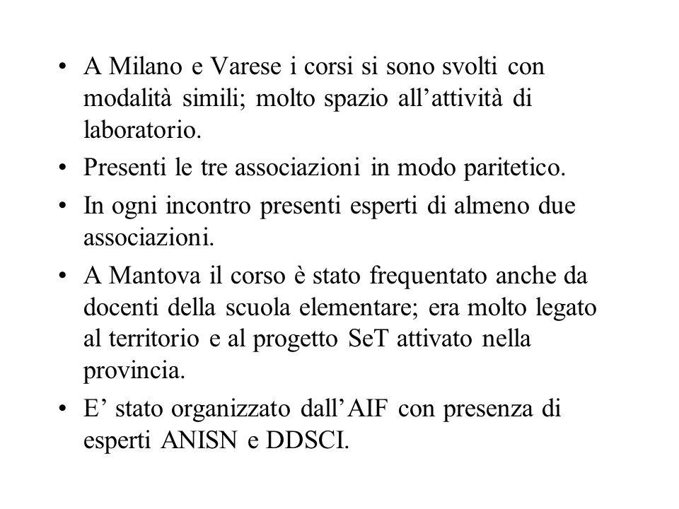 A Milano e Varese i corsi si sono svolti con modalità simili; molto spazio allattività di laboratorio.