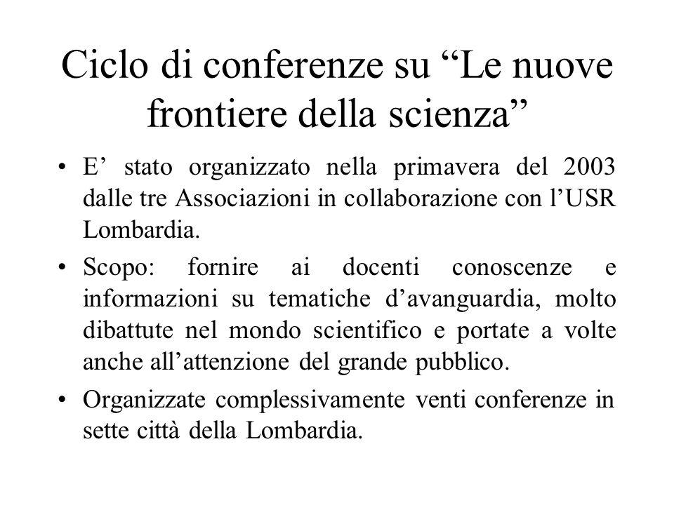 Ciclo di conferenze su Le nuove frontiere della scienza E stato organizzato nella primavera del 2003 dalle tre Associazioni in collaborazione con lUSR Lombardia.