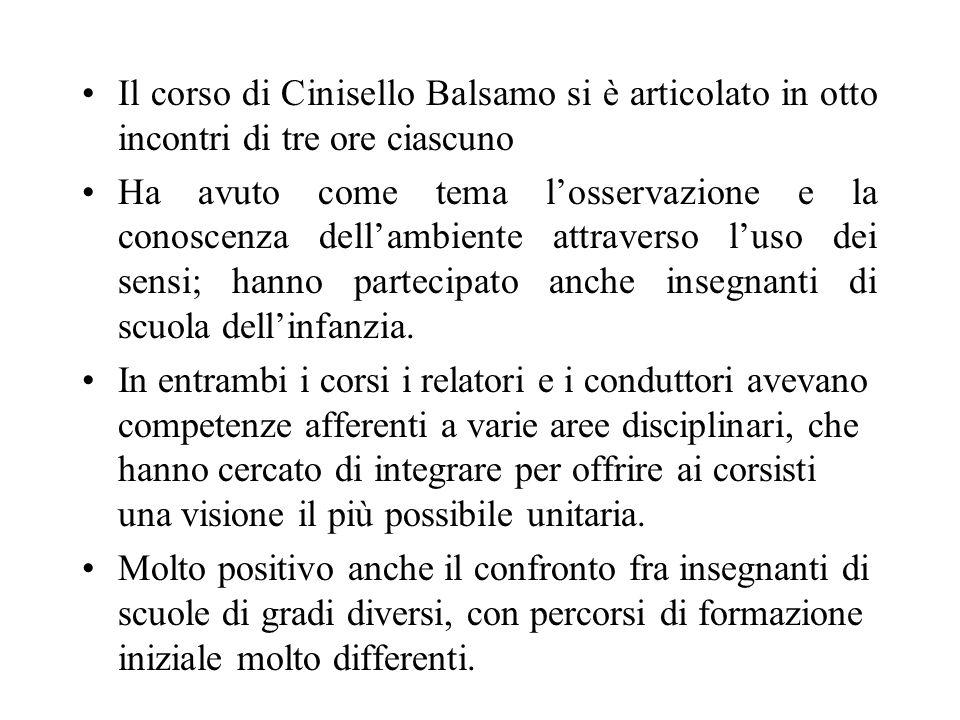 Il corso di Cinisello Balsamo si è articolato in otto incontri di tre ore ciascuno Ha avuto come tema losservazione e la conoscenza dellambiente attraverso luso dei sensi; hanno partecipato anche insegnanti di scuola dellinfanzia.