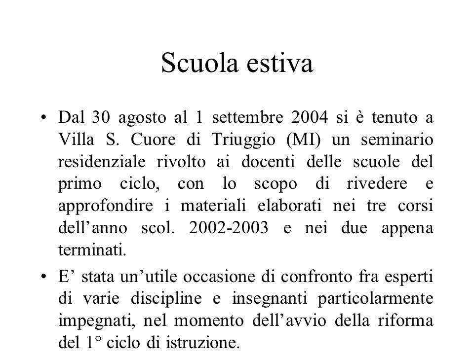 Scuola estiva Dal 30 agosto al 1 settembre 2004 si è tenuto a Villa S.
