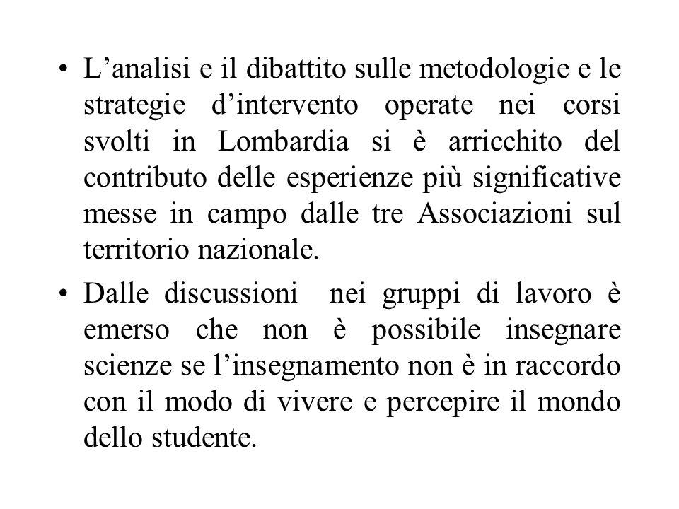 Lanalisi e il dibattito sulle metodologie e le strategie dintervento operate nei corsi svolti in Lombardia si è arricchito del contributo delle esperienze più significative messe in campo dalle tre Associazioni sul territorio nazionale.