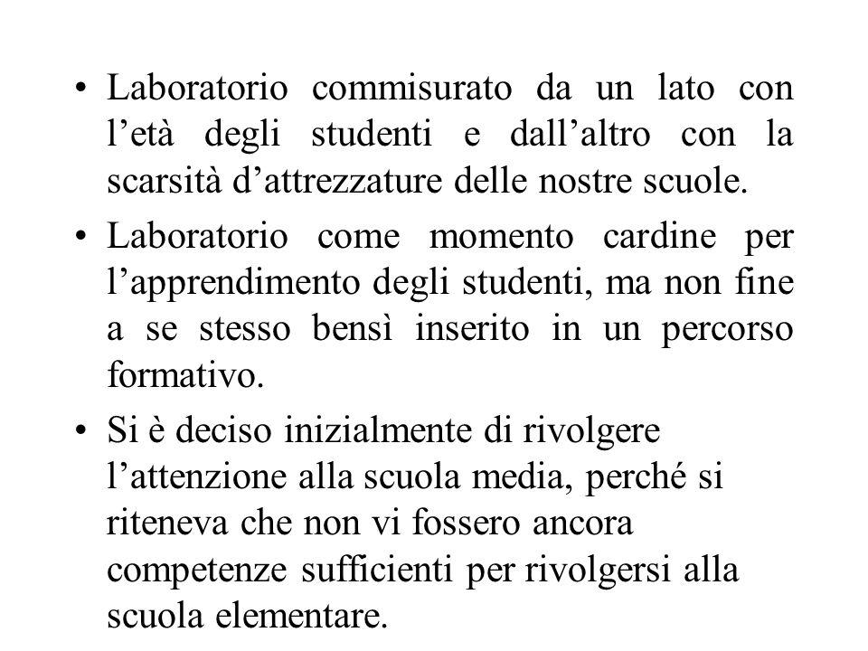 Laboratorio commisurato da un lato con letà degli studenti e dallaltro con la scarsità dattrezzature delle nostre scuole.
