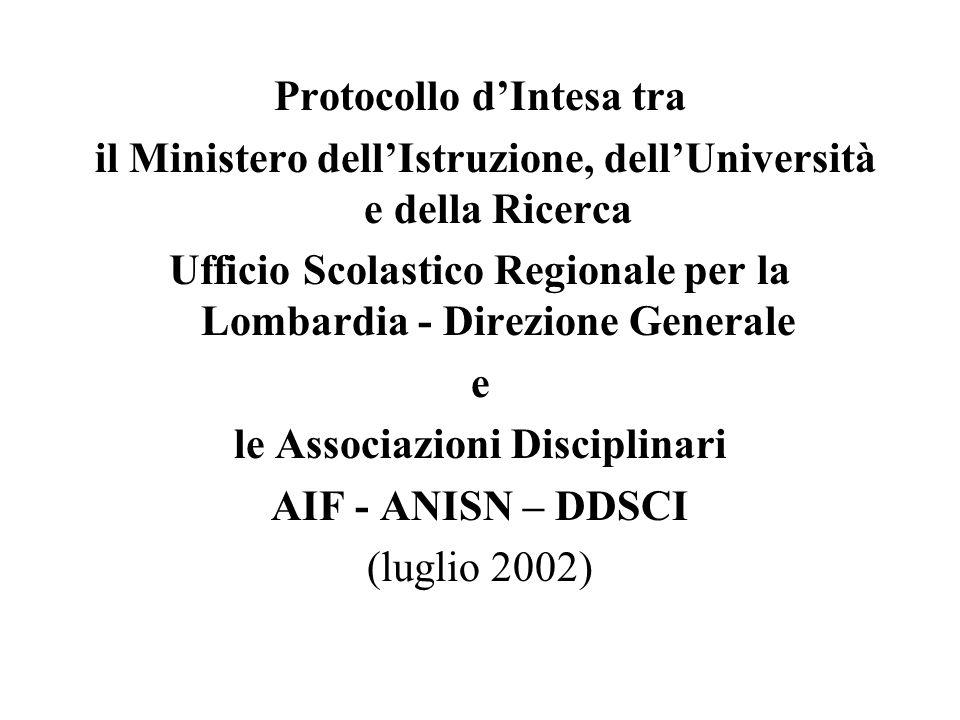Protocollo dIntesa tra il Ministero dellIstruzione, dellUniversità e della Ricerca Ufficio Scolastico Regionale per la Lombardia - Direzione Generale e le Associazioni Disciplinari AIF - ANISN – DDSCI (luglio 2002)