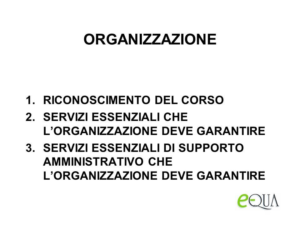 ORGANIZZAZIONE 1.RICONOSCIMENTO DEL CORSO 2.SERVIZI ESSENZIALI CHE LORGANIZZAZIONE DEVE GARANTIRE 3.SERVIZI ESSENZIALI DI SUPPORTO AMMINISTRATIVO CHE LORGANIZZAZIONE DEVE GARANTIRE