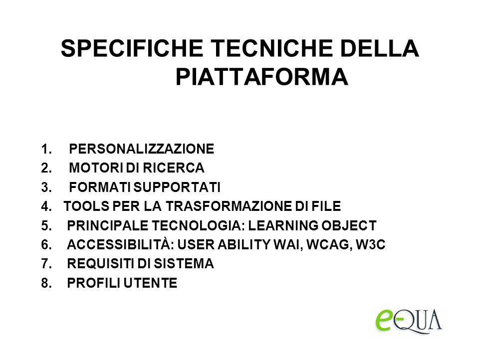 SPECIFICHE TECNICHE DELLA PIATTAFORMA 1.PERSONALIZZAZIONE 2.MOTORI DI RICERCA 3.FORMATI SUPPORTATI 4.
