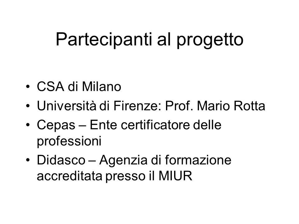 Partecipanti al progetto CSA di Milano Università di Firenze: Prof.