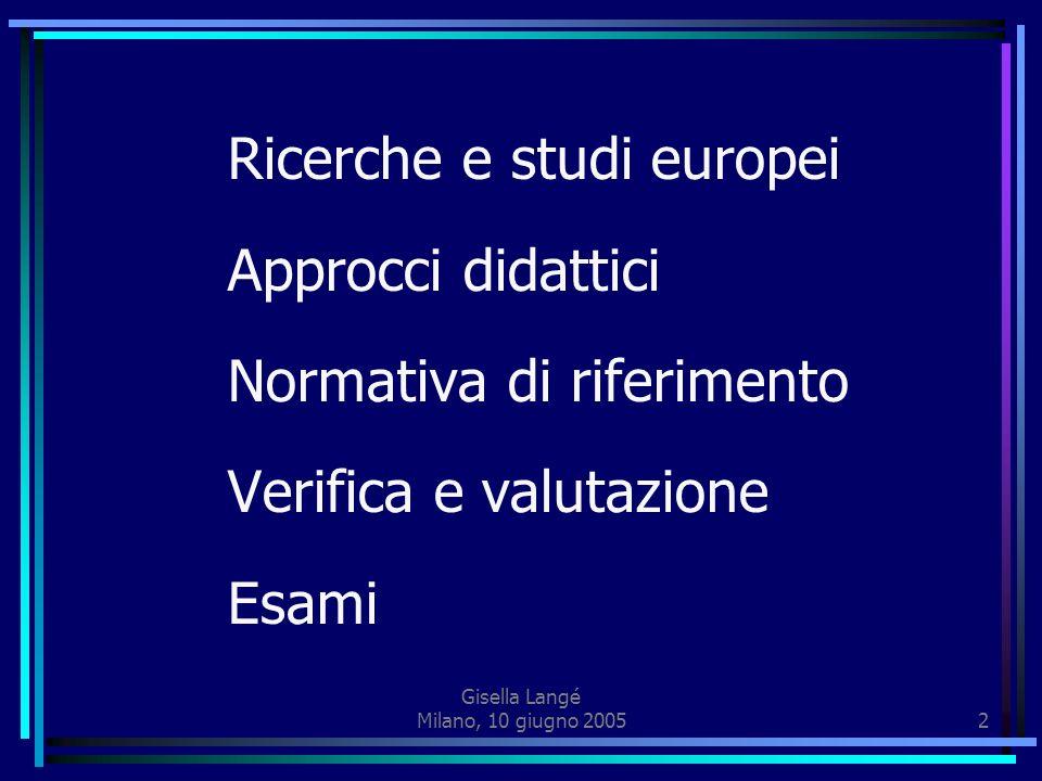 Gisella Langé Milano, 10 giugno 20052 Ricerche e studi europei Approcci didattici Normativa di riferimento Verifica e valutazione Esami