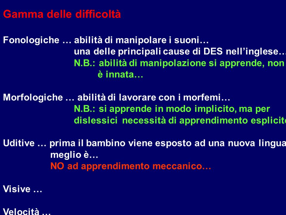 Cognition and Learning Difficulties ( facoltà di apprendere e difficoltà ) pp. 64 - 73 DYSLEXIA Definizione… Disturbo specifico dellapprendimento …ter