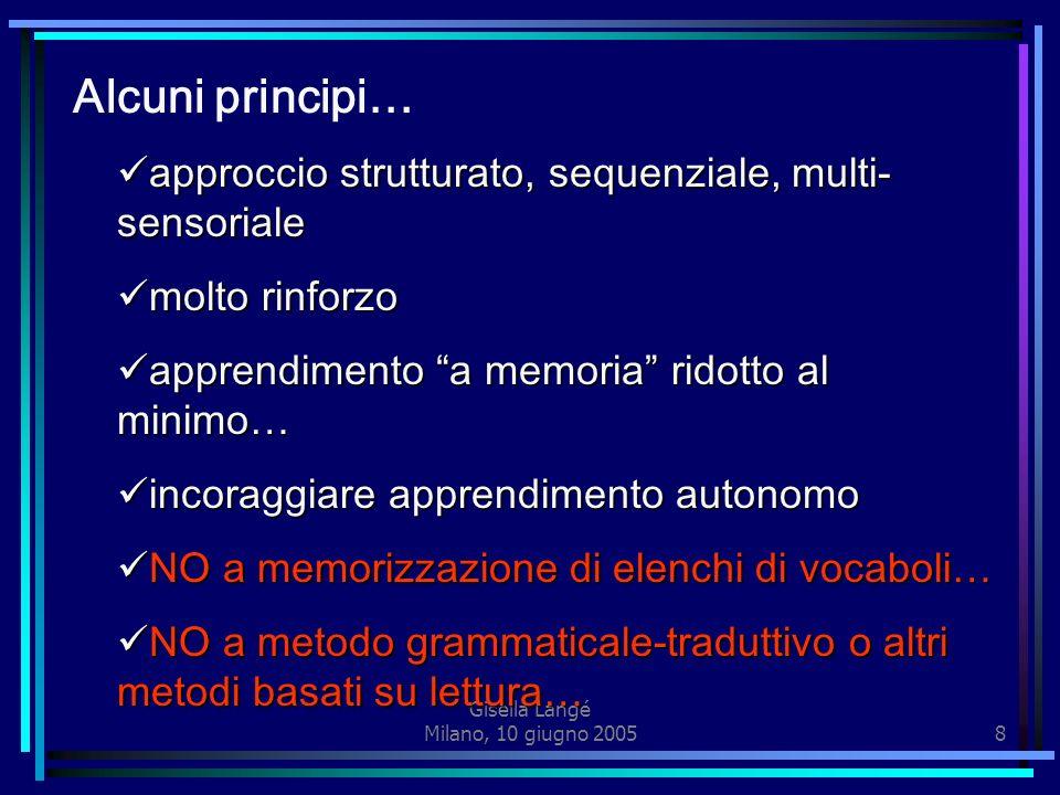 Gisella Langé Milano, 10 giugno 200518 PERSONALIZZAZIONE Dare a ciascuno ciò che gli serve per essere al meglio se stesso Declinare lintervento educativo sulle esigenze della persona rispettando: - i tempi di sviluppo - le forme di apprendimento - le attitudini - le potenzialità