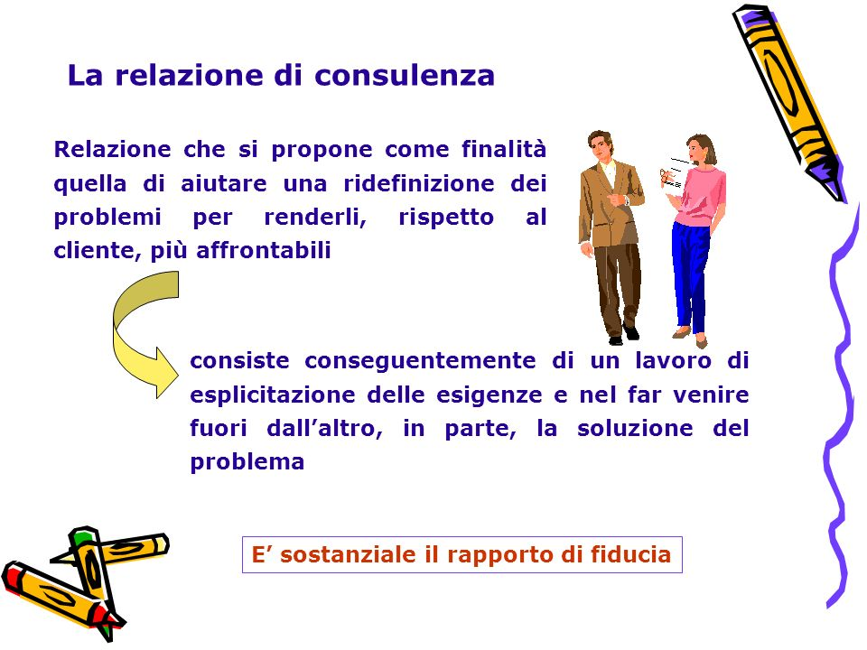 La relazione di consulenza Relazione che si propone come finalità quella di aiutare una ridefinizione dei problemi per renderli, rispetto al cliente,