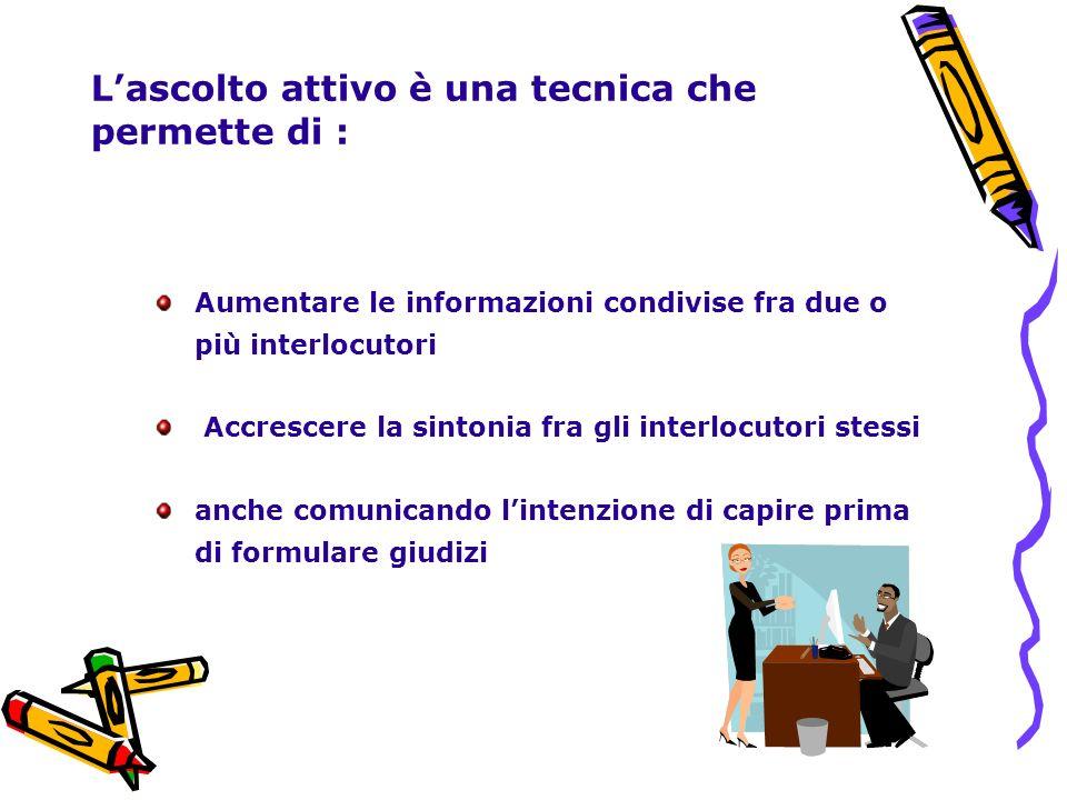 Lascolto attivo è una tecnica che permette di : Aumentare le informazioni condivise fra due o più interlocutori Accrescere la sintonia fra gli interlo
