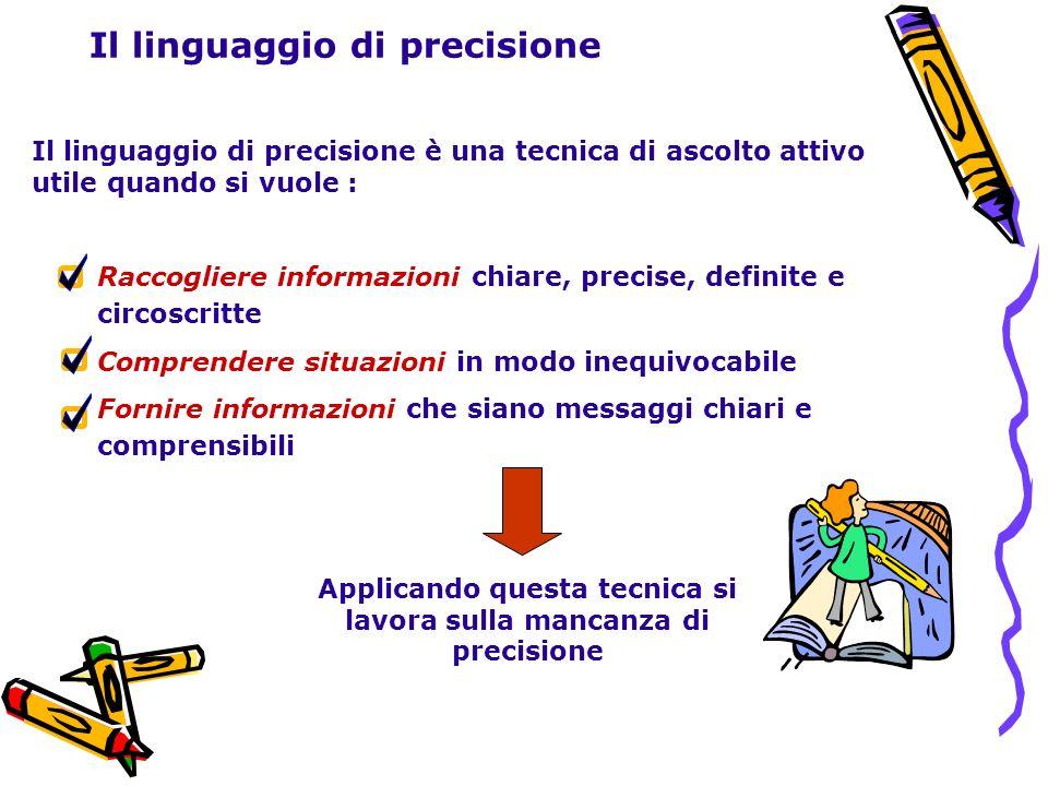 Il linguaggio di precisione Il linguaggio di precisione è una tecnica di ascolto attivo utile quando si vuole : Raccogliere informazioni chiare, preci