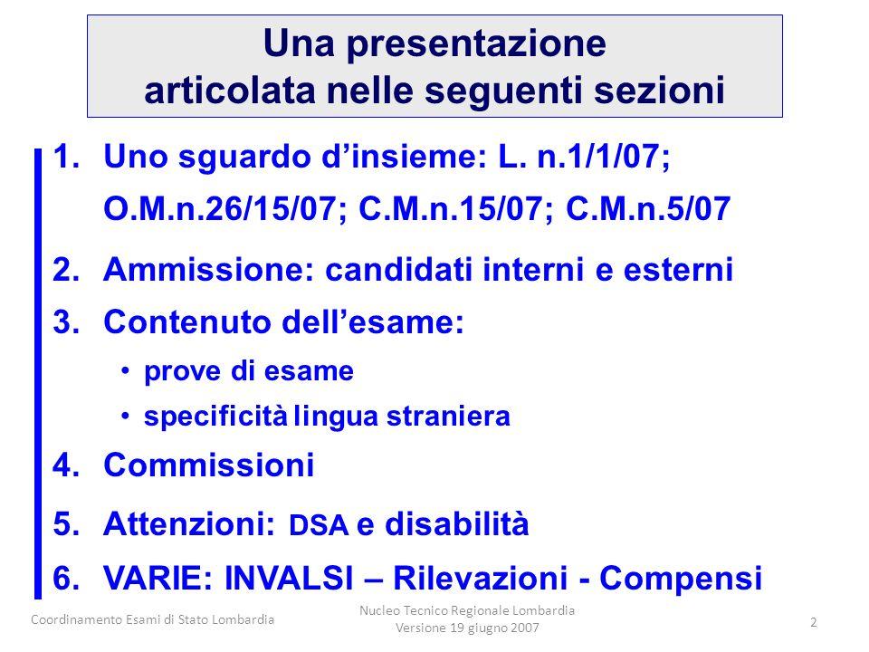 Coordinamento Esami di Stato Lombardia Nucleo Tecnico Regionale Lombardia Versione 19 giugno 2007 2 1.Uno sguardo dinsieme: L. n.1/1/07; O.M.n.26/15/0