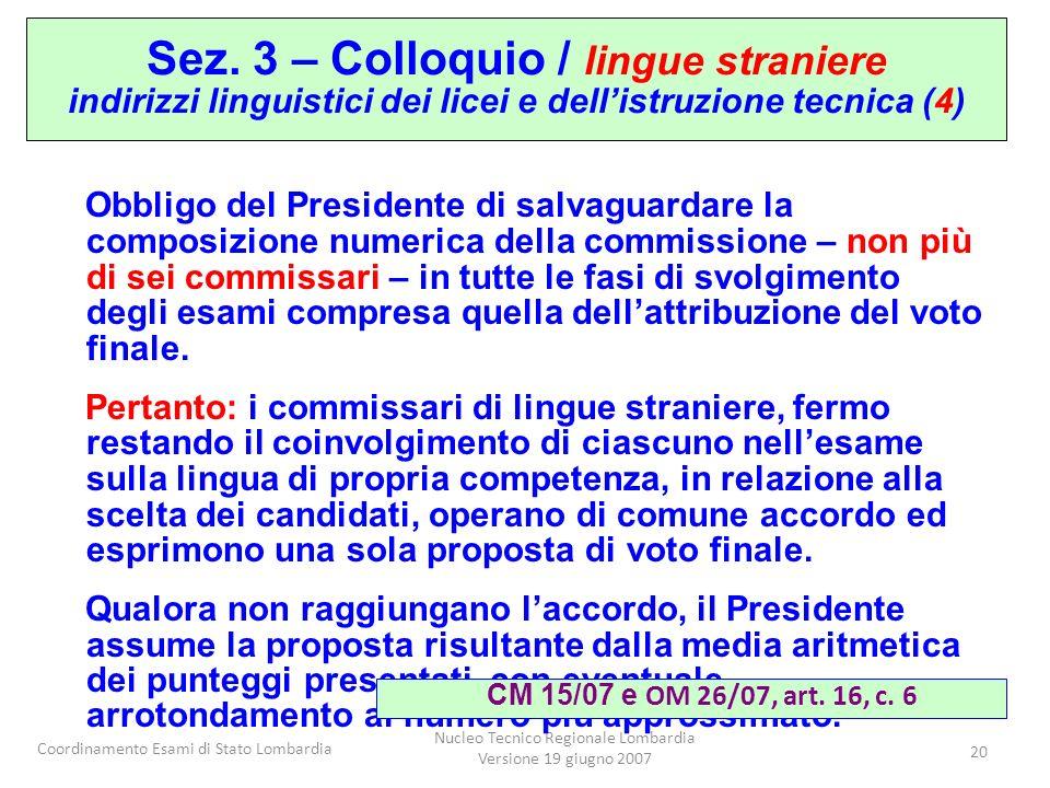 Coordinamento Esami di Stato Lombardia Nucleo Tecnico Regionale Lombardia Versione 19 giugno 2007 20 Obbligo del Presidente di salvaguardare la composizione numerica della commissione – non più di sei commissari – in tutte le fasi di svolgimento degli esami compresa quella dellattribuzione del voto finale.