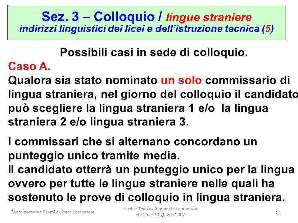 Coordinamento Esami di Stato Lombardia Nucleo Tecnico Regionale Lombardia Versione 19 giugno 2007 21 Sez. 3 – Colloquio / lingue straniere indirizzi l