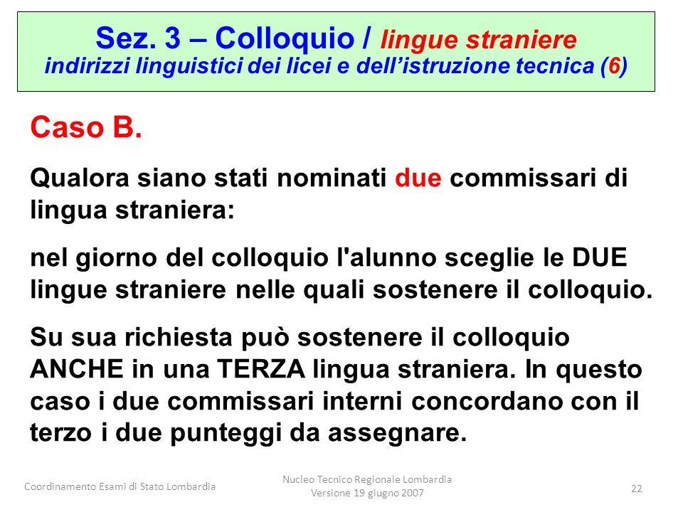 Coordinamento Esami di Stato Lombardia Nucleo Tecnico Regionale Lombardia Versione 19 giugno 2007 22 Sez. 3 – Colloquio / lingue straniere indirizzi l