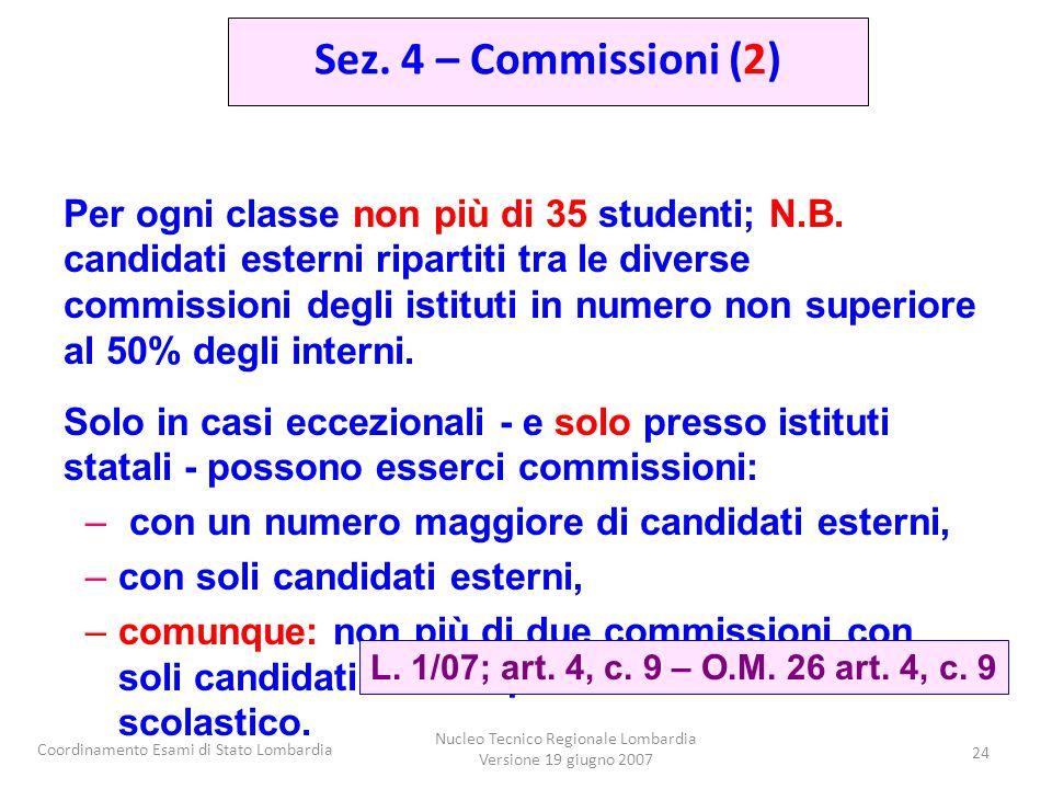 Coordinamento Esami di Stato Lombardia Nucleo Tecnico Regionale Lombardia Versione 19 giugno 2007 24 Per ogni classe non più di 35 studenti; N.B. cand