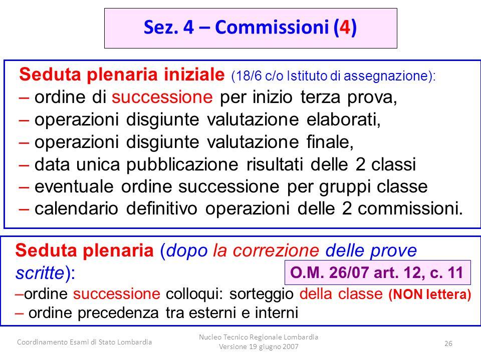 Coordinamento Esami di Stato Lombardia Nucleo Tecnico Regionale Lombardia Versione 19 giugno 2007 26 Seduta plenaria iniziale (18/6 c/o Istituto di as