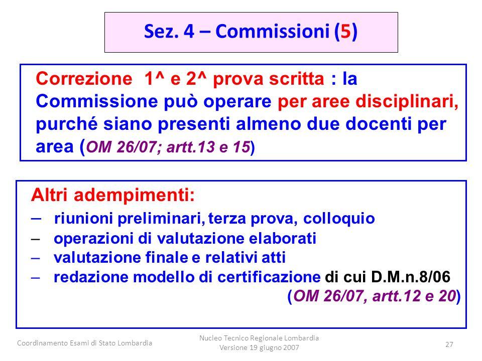 Coordinamento Esami di Stato Lombardia Nucleo Tecnico Regionale Lombardia Versione 19 giugno 2007 27 Correzione 1^ e 2^ prova scritta : la Commissione