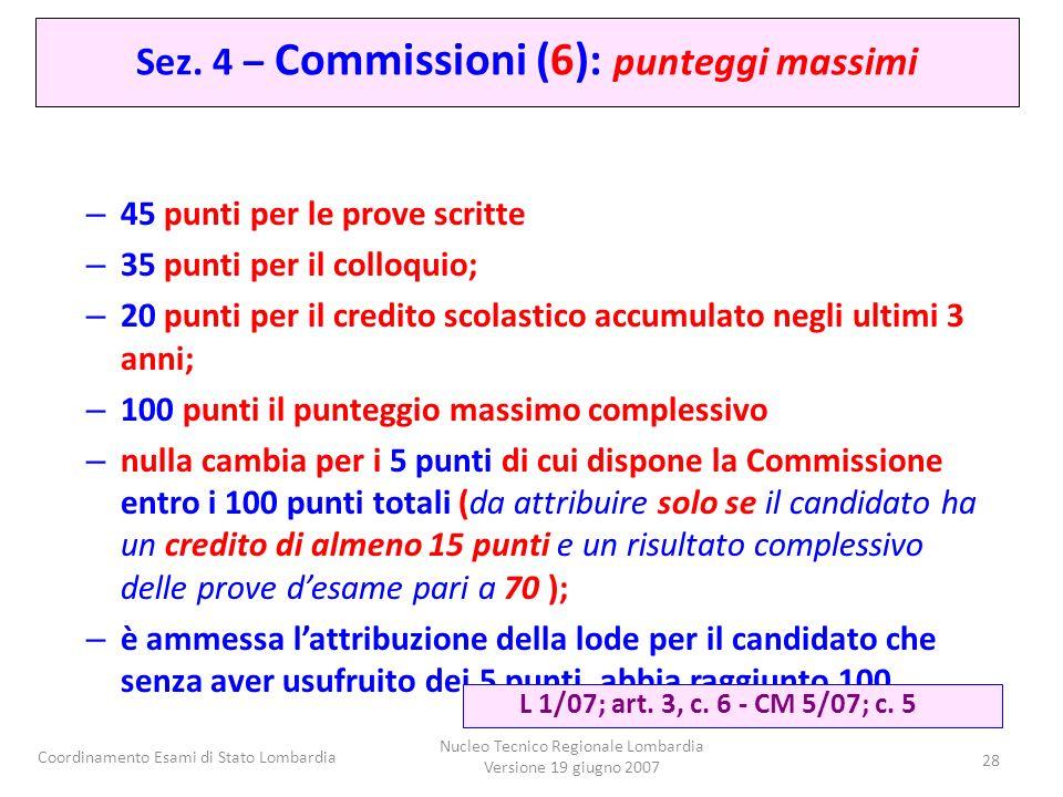 Coordinamento Esami di Stato Lombardia Nucleo Tecnico Regionale Lombardia Versione 19 giugno 2007 28 – 45 punti per le prove scritte – 35 punti per il