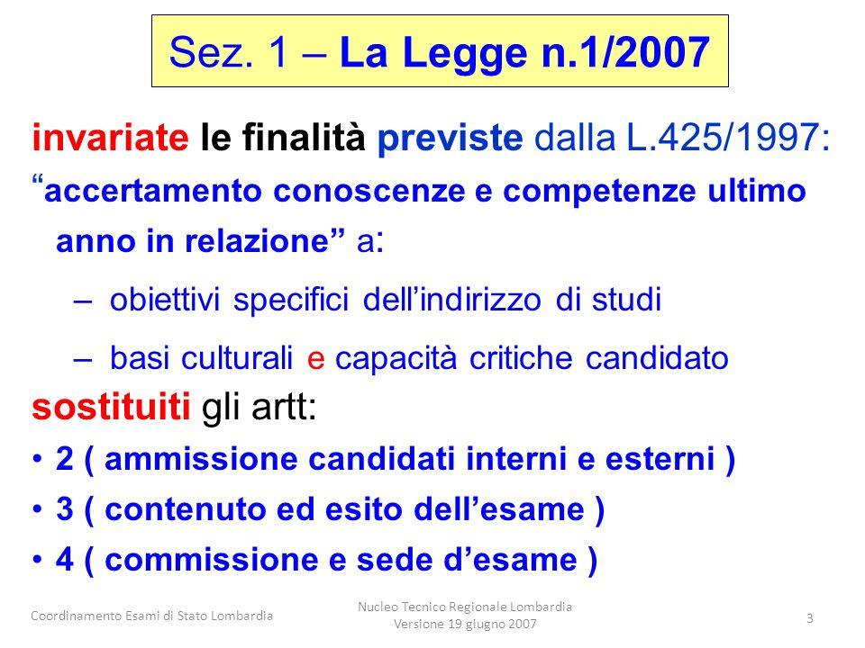 Coordinamento Esami di Stato Lombardia Nucleo Tecnico Regionale Lombardia Versione 19 giugno 2007 3 Sez. 1 – La Legge n.1/2007 invariate le finalità p