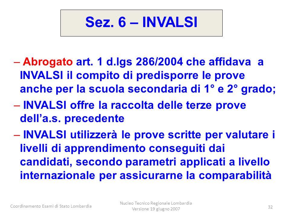 Coordinamento Esami di Stato Lombardia Nucleo Tecnico Regionale Lombardia Versione 19 giugno 2007 32 – Abrogato art. 1 d.lgs 286/2004 che affidava a I