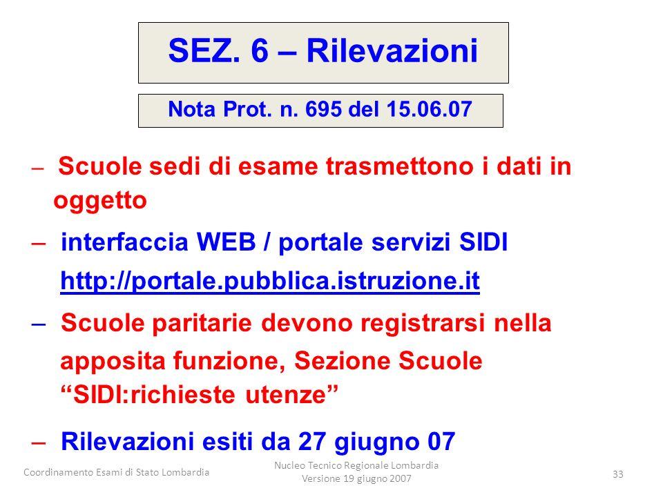 Coordinamento Esami di Stato Lombardia Nucleo Tecnico Regionale Lombardia Versione 19 giugno 2007 33 – Scuole sedi di esame trasmettono i dati in ogge