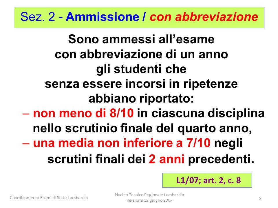 Coordinamento Esami di Stato Lombardia Nucleo Tecnico Regionale Lombardia Versione 19 giugno 2007 8 Sono ammessi allesame con abbreviazione di un anno