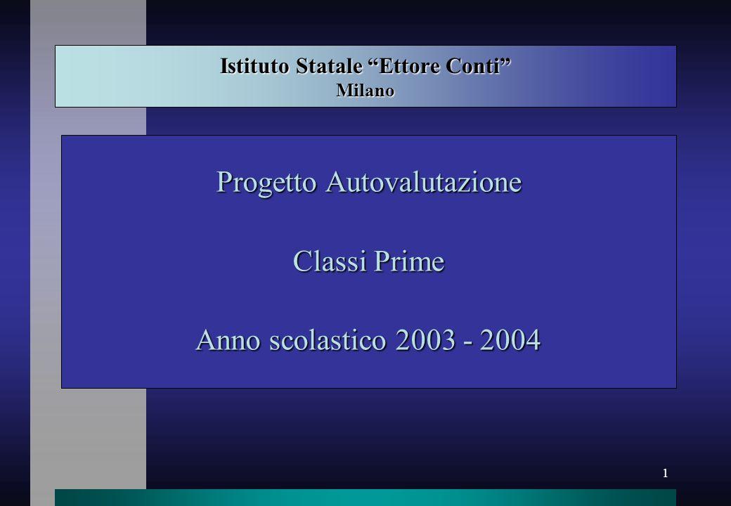1 Istituto Statale Ettore Conti Milano Progetto Autovalutazione Classi Prime Anno scolastico 2003 - 2004