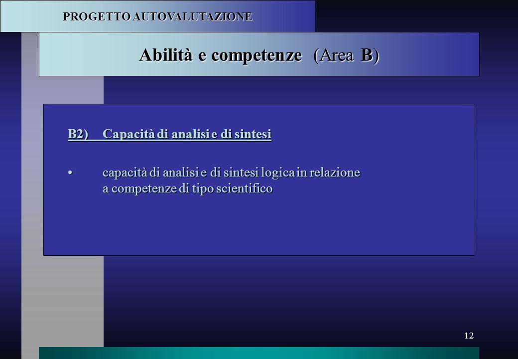 12 Abilità e competenze (Area B) B2)Capacità di analisi e di sintesi capacità di analisi e di sintesi logica in relazione a competenze di tipo scienti