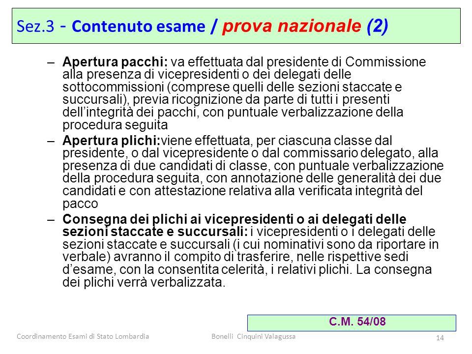 Coordinamento Esami di Stato LombardiaBonelli Cinquini Valagussa 14 –Apertura pacchi: va effettuata dal presidente di Commissione alla presenza di vic