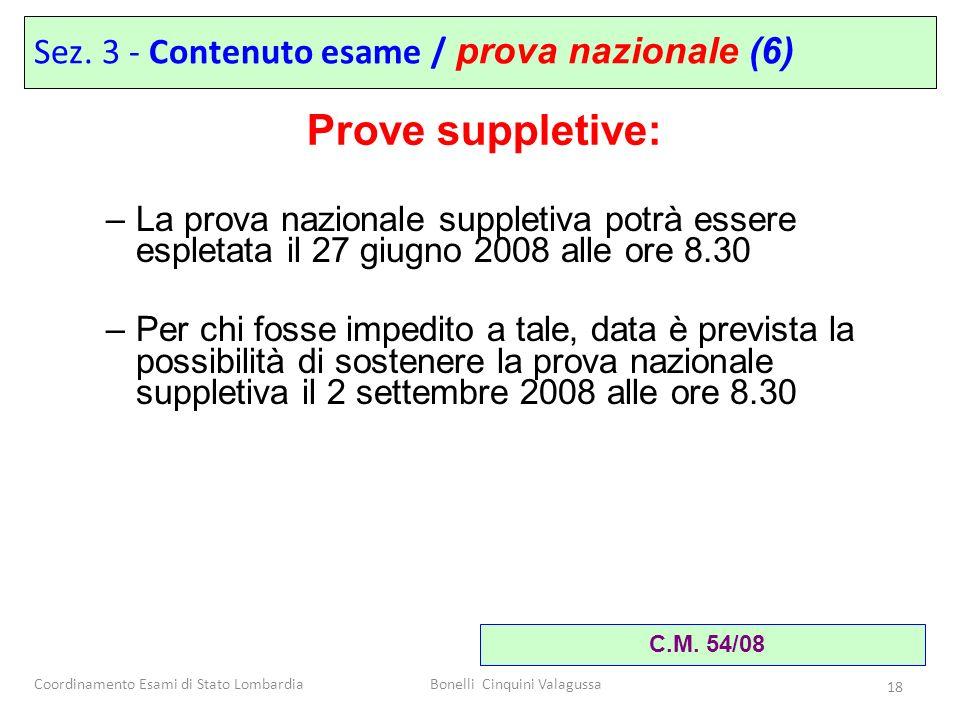 Coordinamento Esami di Stato LombardiaBonelli Cinquini Valagussa 18 –La prova nazionale suppletiva potrà essere espletata il 27 giugno 2008 alle ore 8