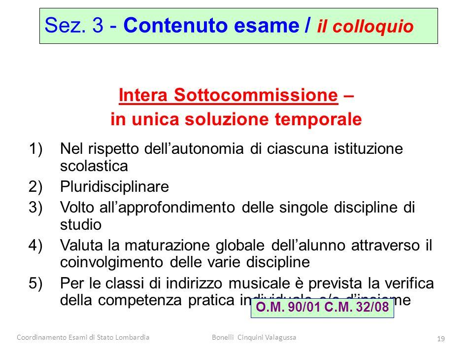 Coordinamento Esami di Stato LombardiaBonelli Cinquini Valagussa 19 Intera Sottocommissione – in unica soluzione temporale 1)Nel rispetto dellautonomi