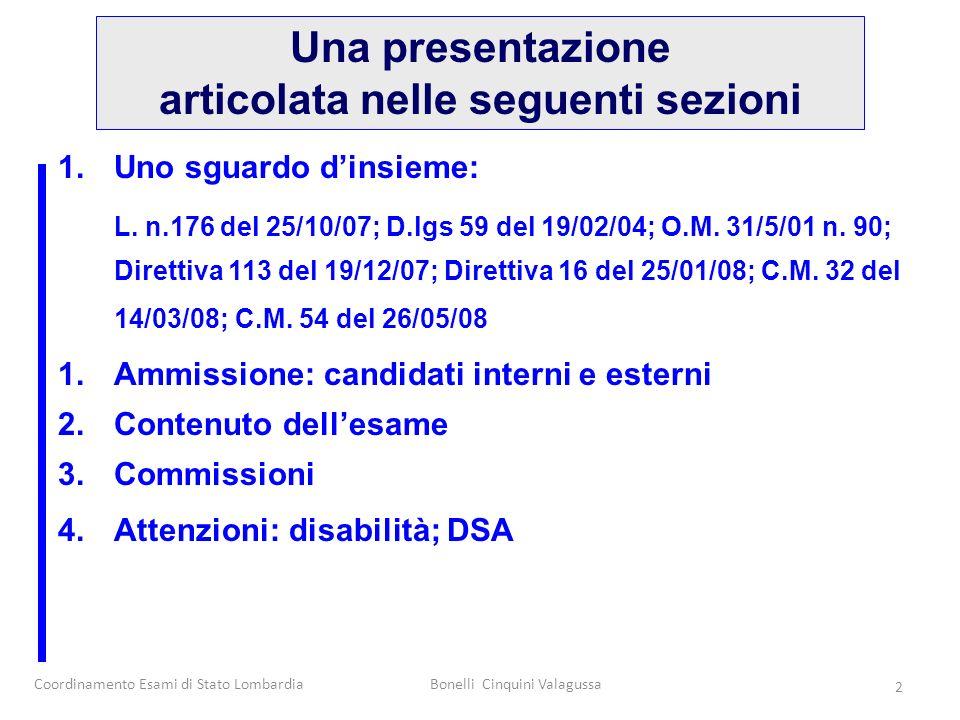 Coordinamento Esami di Stato LombardiaBonelli Cinquini Valagussa 2 1.Uno sguardo dinsieme: L. n.176 del 25/10/07; D.lgs 59 del 19/02/04; O.M. 31/5/01