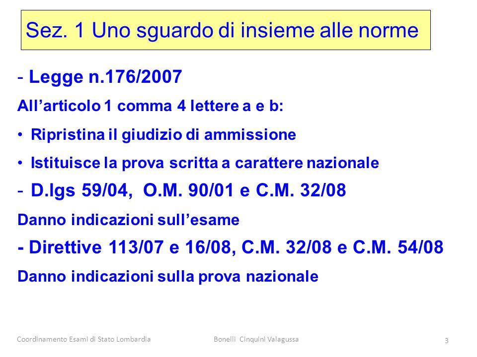 Coordinamento Esami di Stato LombardiaBonelli Cinquini Valagussa 3 Sez. 1 Uno sguardo di insieme alle norme - Legge n.176/2007 Allarticolo 1 comma 4 l