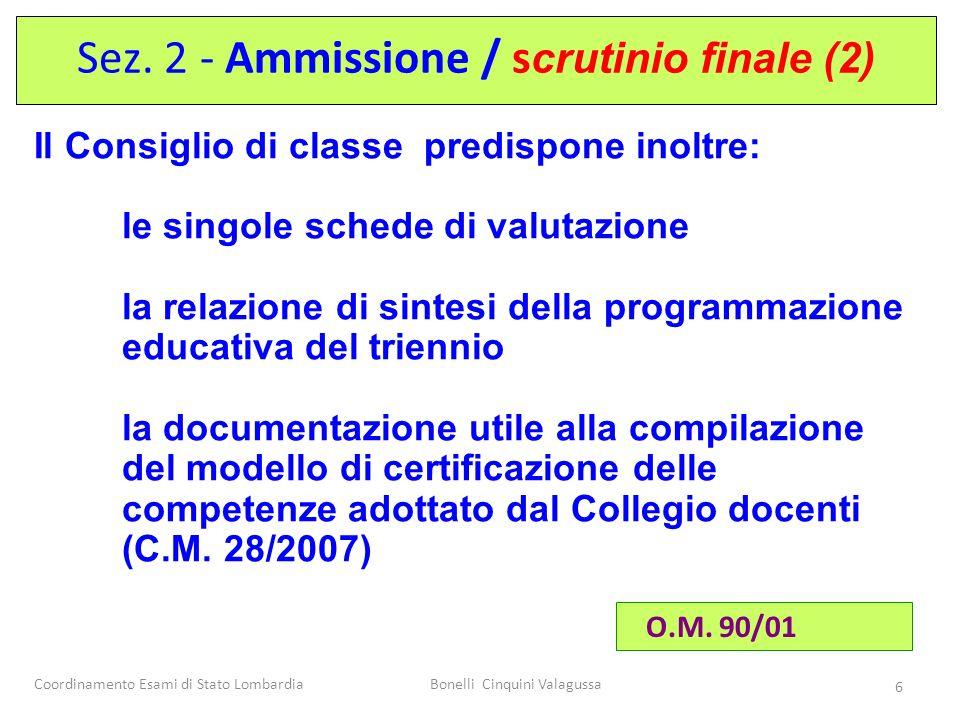 Coordinamento Esami di Stato LombardiaBonelli Cinquini Valagussa 6 Il Consiglio di classe predispone inoltre: le singole schede di valutazione la rela